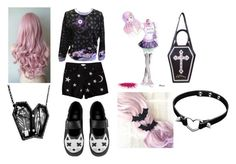 """""""So goth so cute"""" by wk-eleonora ❤ liked on Polyvore featuring Savannah, T.U.K., Curiology, goth and pastel"""