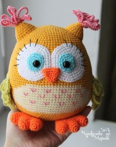 """Order up  - enter coupon code GOODDAY by finishing of your order and get 10% off your order. This pattern is available in English Prices include VAT VAT (Value Added Tax), a tax charged on most goods and services in the European Union Hi! Let me introduce crochet toy Colorful owl! Bright colorful owl with big eyes brings a lot of joy. She loves to sit on the hands and sing """"Whoo""""and some known tunes. If this lovely creature stay with you, it will be a friend for the whole family. Croch..."""