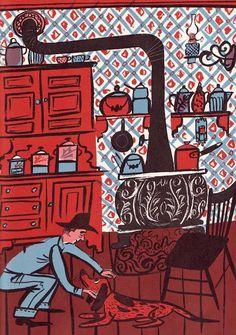 Roger Duvoisin (1900 – 1980) - Swiss-born American writer and illustrator. illustration, drawing, art, design, modern, mid-century, retro, vintage, children, picture, book, dog, house