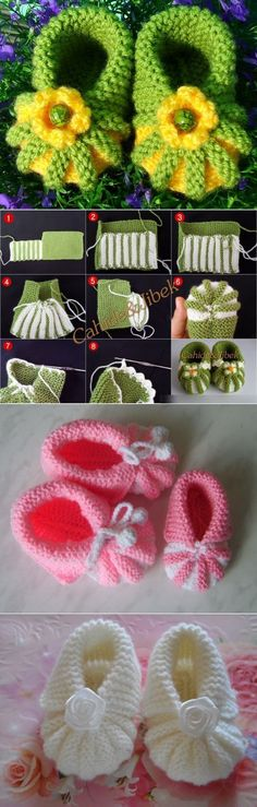 Baby Knitting Patterns Booties Smart booties knitted but I think I can convert to crochet easily Baby Knitting Patterns, Loom Knitting, Knitting Socks, Baby Patterns, Crochet Patterns, Crochet Shoes, Crochet Slippers, Knit Crochet, Tunisian Crochet