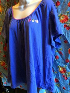 Size 3X sleep top or knit blouse periwinkle blue embroidery and stretch lace #SimplyBasic #Blouse #Casual
