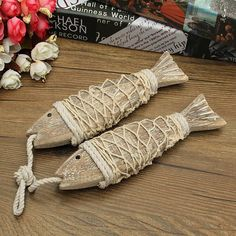"""2 Pcs Hand Carved Hanging Wood Fish 7"""""""