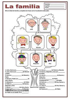 Family Tree Worksheet Printable Best Of Family Worksheet Free Esl Printable Worksheets Made by – Tate Publishing News Spanish Worksheets, Spanish Activities, Teaching Spanish, Worksheets For Kids, Kindergarten Worksheets, Printable Worksheets, Teaching English, Rhyming Worksheet, Rhyming Games
