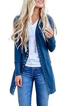 The perfect Asskdan Women s Long Sleeve Snap Button Down Cardigan Knit  Ribbed Solid Cardigan Sweater Outwear 86c36aa37