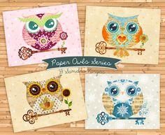 Paper Owls Postcards Set of 8 Postcards Postcrossing Four Seasons by sandragrafik on Etsy https://www.etsy.com/listing/161820230/paper-owls-postcards-set-of-8-postcards
