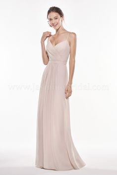 436b680e970 Jasmine Bridal Long V-neck Georgette Bridesmaid Dress with Spaghetti Straps  Beautiful Bridesmaid Dresses