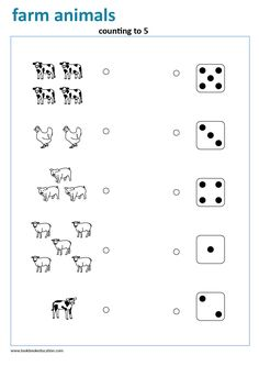 Counting to Preschool and Kindergarten Worksheet. Animal Worksheets, Kindergarten Math Worksheets, Preschool Activities, Preschool Kindergarten, Math Exercises, Skills To Learn, Math For Kids, Exercise For Kids, Farm Animals