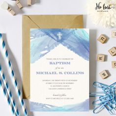 Blue Watercolor Baptism Invitation  Christening by NoFussPrintable