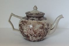 Brown Transferware Tea Pot Charleston SC South Carolina Toile Pattern | eBay