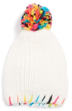 The Accessory Collective Accessory Collective Rainbow Pom Knit Hat (Big Girls) available at #Nordstrom