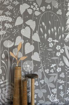 Nursery Wallpaper, Wallpaper Roll, Pattern Wallpaper, Wallpaper Ideas, Vinyl Wall Covering, Forest Wallpaper, Grey Nature Wallpaper, Botanical Wallpaper, Brown And Grey