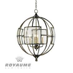 Un charmant suspendu en forme de sphère 4 lumière, vient avec des panneaux de verre granuleux qui lui donnent un attrait particulier. Le cadre en fer forgé est fini en bronze. Le processus de finition à la main utilisée sur ce lustre donne un air de profondeur et de richesse, idéal pour salle a manger, chambre, escalier et entrée.