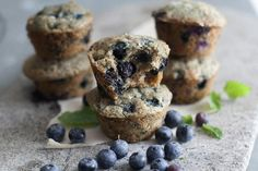 Give blueberry muffins a wholesome upgrade by dding oat flour and banana. It makes them heartier. Here's a recipe for delicious blueberry muffins. Healthy Blueberry Muffins, Blueberry Recipes, Blue Berry Muffins, Healthy Plate, Healthy Baking, Real Food Recipes, Yummy Food, Delicious Recipes, Breakfast On The Go