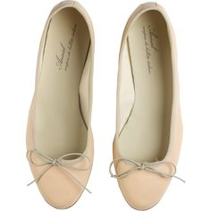 ANNIEL Ballerines cuir Beige ($86) ❤ liked on Polyvore featuring shoes, flats, chaussures, flat shoes, flat pumps, beige shoes, anniel and anniel flats