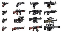 "tributegames:  pixeltao:  Here's a few ""classic"" guns I drew for Mercenary Kings. Besides these ones, pretty much all other gun sprites of t..."