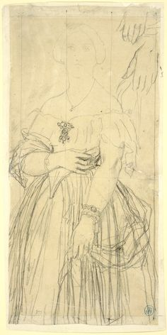 Jean Auguste Dominique Ingres:  Madame Moitessier (1851)  Dress Study