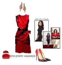 """Dress Your Favorite Emmy Nominee!"" by belldraw ❤ liked on Polyvore featuring Christian Louboutin, Prabal Gurung, Harry Winston, Alexander McQueen, julialouisdreyfus and emmyredcarpet"