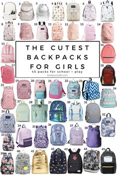 The Cutest Backpacks for Girls - 45 Adorable Backpacks for Kindergarten & Beyond - Lovely Lucky Life - cute backpacks for girls – here are 45 of the cutest backpacks for little girls Imágen - Tween Backpacks, Cute Girl Backpacks, Cute Backpacks For School, Backpacks For College, Best Kids Backpacks, Stylish Backpacks, Middle School Supplies, School Supplies Highschool, School Suplies