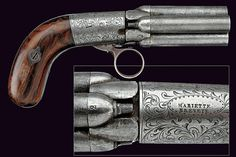 "A ""Mariette"" pepperbox percussion revolver, 19th century."