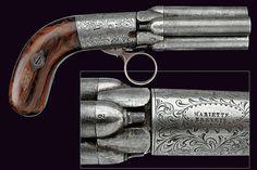 """A """"Mariette"""" pepperbox percussion revolver, 19th century."""