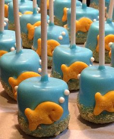GOLDFISH MARSHMALLOW POPS (12) - Under the Sea Marshmallow Pops - Ocean Themed by SweetBitesMs on Etsy https://www.etsy.com/listing/218837052/goldfish-marshmallow-pops-12-under-the