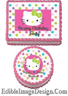 Hello Kitty Edible Birthday Party Cake Image Cupcake Topper Favor Decoration   eBay
