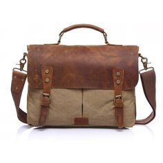 f8d2302e735e US 42.36 - Vintage Canvas Genuine Leather Crossbody Bag Waxed Canvas