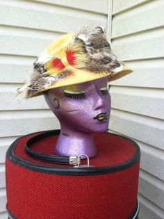 1950's vintage hat gold wool felt with by FeathercatEmporium