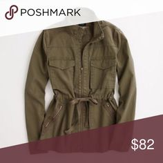 J. Crew Army Green Utility Jacket Yes, you need one--the jacket that goes with everything. Perfect for all seasons. Drawstring waist. Size: medium. Fits true to size. More photos to come. J. Crew Jackets & Coats Utility Jackets