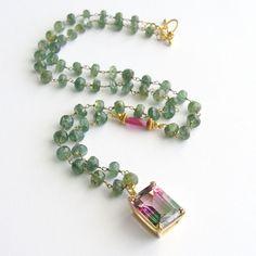 Green Apatite Pink Sapphire Bi-Color Watermelon Topaz Necklace - Jeanette III Necklace