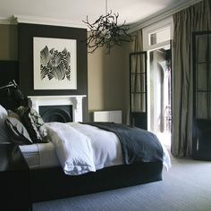 slim French doors with white surround and transom Fancy Bedroom, Black Bedroom Design, Master Bedroom Design, Home Bedroom, Bedroom Ideas, Bedroom Photos, Bedroom Themes, Bedroom Furniture, Nice Furniture