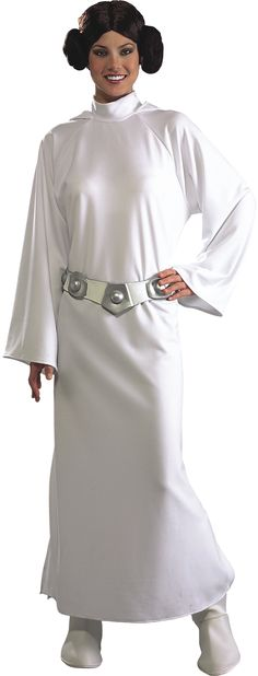 Deluxe Princess Leia Star Wars Costume - This is an iconic costume for Princess Leia from the classic Star Wars sci-fi saga.  The Princess Leia costume comes with a long white hooded dress that pulls on over the head and ties behind the neck. The dress has a slit up the skirt and bell sleeves. To complete the look the costume comes with a pair of padded cream boot tops with an elastic to hook under your shoe. Next there is a rubber belt that Velcro's together.