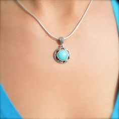 Geometric Amazonite Flower Pendant by Village Silversmith