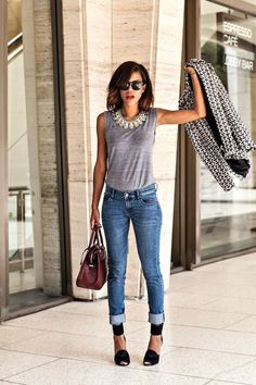 cuffed jeans street style