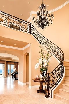 Mediterranean Staircase Design Ideas, Pictures, Remodel and Decor - Interior Designs Foyer Staircase, Staircase Design, Wrought Iron Stair Railing, Tuscan House, Mediterranean Decor, Mediterranean Architecture, Foyer Decorating, House Entrance, Stairways