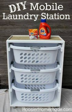 Home Cleaning Homeade Laundry Detergent  Laundry Room three plastic wash baskets pull out drawers in a stand  DIY Mobile Laundry Station,  This would be cool to do in the bedroom so we wouldn't have to sort clothes later!   February 2015