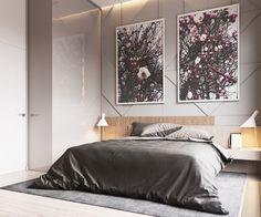 ambiance zen dans la chambre adulte avec lit en bois et panneau mural décoratif