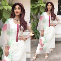 Today dressed in this breezy salwar kameez for an event today . Suits For Women, Clothes For Women, Ladies Suits, Desi Clothes, Indian Designer Wear, Indian Dresses, Indian Wear, Fashion Pants, Cotton Dresses