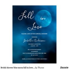Bridal shower blue moon fall in love invitation postcard Zazzle Invitations, Bridal Shower Invitations, Party Invitations, Bridal Shower Rustic, Bridal Showers, Fall Wedding, Rustic Wedding, Romantic Evening, Blue Moon