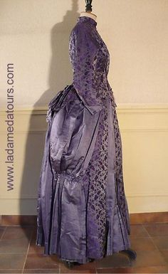 Afternoon Dress: ca. 1880's - 1890's, silk brocade.