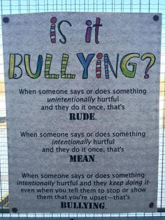 So much emphasis is put on stopping bullying (which is great! but many people don't know what bullying actually is. And there are some people that are going a bit overboard with their accu… Classroom Behavior, School Classroom, Classroom Ideas, Classroom Quotes, Classroom Resources, Beginning Of School, First Day Of School, Middle School, Social Emotional Learning