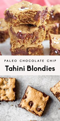 Paleo chocolate chip tahini blondies that are gooey with nutty, earthy notes and chocolate puddles in every bite. These will be your go-to dessert for parties, or whenever you need something sweet. Healthy Dessert Recipes, Gluten Free Desserts, Healthy Baking, Vegan Desserts, Healthy Desserts, Paleo Recipes, Sweet Recipes, Easy Desserts, Baking Recipes