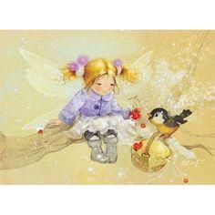 RARE Winter fairy with blue tit fantasy by Babok Russian modern postcard Kobold, Winter Fairy, Love Fairy, Flower Fairies, Fairy Art, Whimsical Art, Cute Illustration, Faeries, Cute Art
