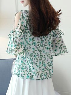 Buy Summer Chiffon Women Open Shoulder Printed Bell Sleeve Half Sleeve Blouses online with cheap prices and discover fashion Blouses at Fashionmia.com.