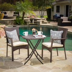 Complete with a sturdy tempered glass tabletop, wicker frame, and weather resistant cushions this bistro set is ideal for anyone looking to spend some time outdoors relaxing with a good friend or significant other.