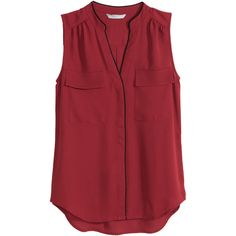 H&M Sleeveless blouse (550 UYU) ❤ liked on Polyvore featuring tops, blouses, shirts, raven, dark red, red shirt, woven shirts, no sleeve shirt, red v neck shirt and sleeveless blouse