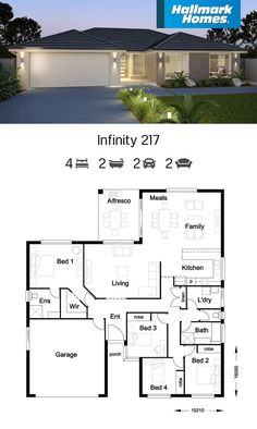 If you have a shallow block of land, the Infinity 217 might be the answer. Large living areas flow off the kitchen and look out over the alfresco area. The private master suite is well away from the remaining three bedrooms, providing a peaceful retreat. Free House Plans, House Layout Plans, Family House Plans, Best House Plans, Modern House Plans, House Layouts, Home Design Floor Plans, House Floor Plans, Single Storey House Plans