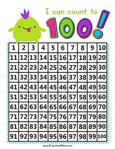 Free!  A simple yet adorable monster theme hundreds chart for your children to count with.