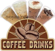 "14"" Ice Coffee Drinks Concession Food Truck Shop Cafe Restaurant Sign Decal  #SolidVisionStudio"