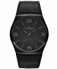 Skagen Denmark Watch, Men's Black Leather Strap 45mm SKW6043